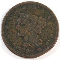 1842 Large Date USA Cent VG-F (VG-10)