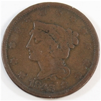 1843 Petite Head Small Letters USA Cent VG-F (VG-10)