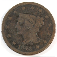 1843 Petite Head Small Letters USA Cent Very Good (VG-8)