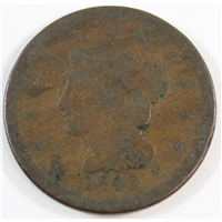 1843 Mature Head Large Letters USA Cent About Good (AG-3)