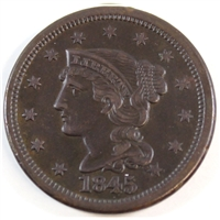 1845 USA Cent Almost Uncirculated (AU-50) $