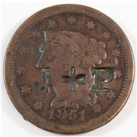 1851 USA Cent Very Good (G-8) J + P Counterstamped