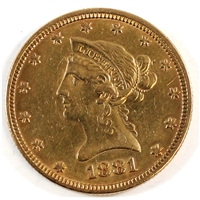 1881 USA $10.00 Gold EF-AU (EF-45) Scratched