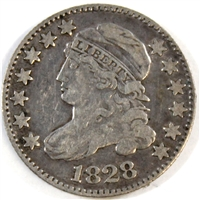 1828  Large Date Curl Base 2 USA Dime F-VF (F-15) $