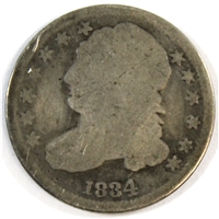 1834 Large 4 USA Dime  About Good (AG-3)