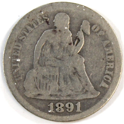 1891 O USA Dime About Good (AG-3)