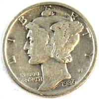 1936 S USA Dime Very Good (VG-8)