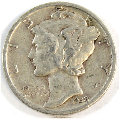 1938 USA Dime Very Fine (VF-20)