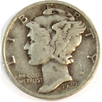 1939 S USA Dime Very Fine (VF-20)