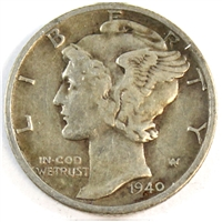 1940 D USA Dime Very Fine (VF-20)