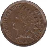 1864 Var. 3 No L USA Cent AU-UNC (AU-55) $
