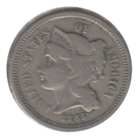 1865 Nickel USA 3 Cents F-VF (F-15)