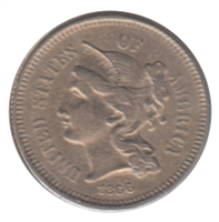 1866 Nickel USA 3 Cents EF-AU (EF-45) $
