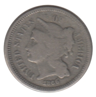 1866 Nickel USA 3 Cents Fine (F-12)