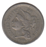 1867 Nickel USA 3 Cents Extra Fine (EF-40)