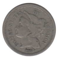 1867 Nickel USA 3 Cents F-VF (F-15)