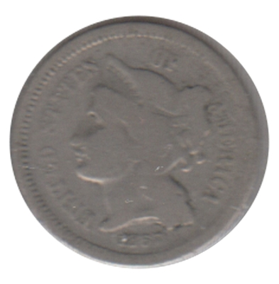 1867 Nickel USA 3 Cents G-VG (G-6)