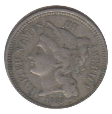1868 Nickel USA 3 Cents VF-EF (VF-30)