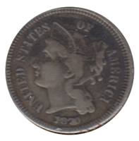 1870 Nickel USA 3 Cents VF-EF (VF-30)