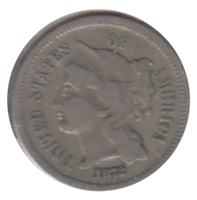 1872 Nickel USA 3 Cents Very Fine (VF-20)