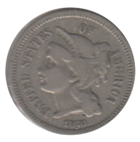 1873 Nickel USA 3 Cents VF-EF (VF-30)