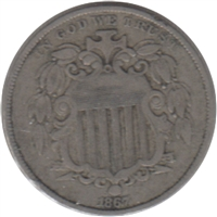 1867 No Rays USA Nickel Very Fine (VF-20)
