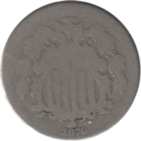 1870 USA Nickel About Good (AG-3)