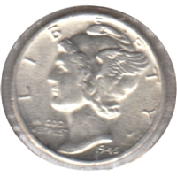 1945 D USA Dime Almost Uncirculated (AU-50)