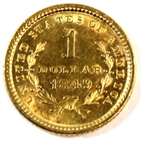 1849 Open Wreath No L USA Gold Dollar AU-UNC (AU-55) Cleaned $