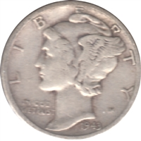 1943 S USA Dime Circulated