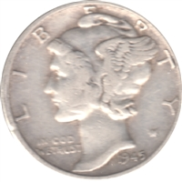 1945 D USA Dime Circulated