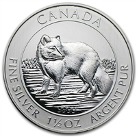 2014 Canada $8 Arctic Fox 1.5oz .9999 Silver (TAX Exempt) May Be Lightly Toned