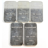 Lot of 5x Scotiabank 1oz .999 Fine Silver Bars, 5Pcs (No Tax)