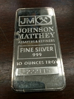 Johnson Matthey 10oz. .999 Fine Silver Bar (No Tax) May be lightly toned