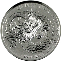2019 Canada $5 1oz .9999 Silver High Relief Lucky Dragon Round (No Tax)