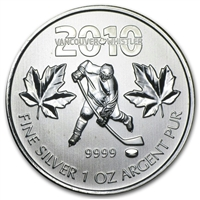 2010 Canada $5 Hockey Olympic Silver Maple Leaf (TAX Exempt)