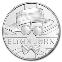 2021 Great Britain 5-Pound Music Legends - Elton John 1oz. .999 Silver (No Tax)