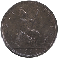 Great Britain 1862 Half Penny Brilliant Uncirculated (MS-63) Lustrous R & B
