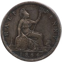 Great Britain 1864 1/2 Penny Very Fine (VF-20)