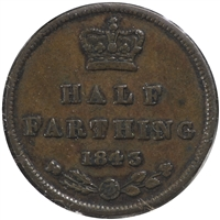 Great Britain 1843 1/2 Farthing VF-EF (VF-30)
