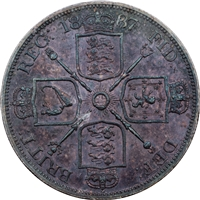 Great Britain 1887 Roman I Double Florin AU-UNC