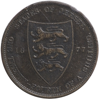 Jersey 1877H 1/24 Shilling Almost Uncirculated (AU-50)