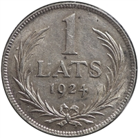Latvia 1924 1 Lats Almost Uncirculated (AU-50)