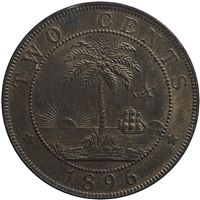 Liberia 1896H 2-cents Almost Uncirculated (AU-50)