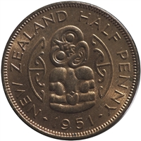 New Zealand 1951 1/2 Penny Uncirculated (MS-60)