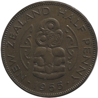 New Zealand 1955 1/2 Penny Very Fine (VF-20)