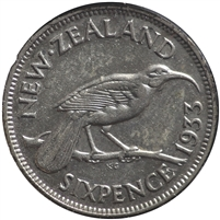 New Zealand 1933 6 Pence VF-EF (VF-30)