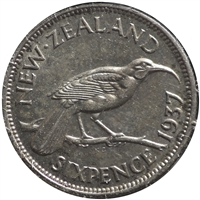 New Zealand 1937 6 Pence VF-EF (VF-30)