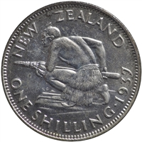 New Zealand 1937 Shilling VF-EF (VF-30)