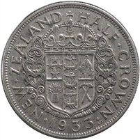 New Zealand 1933 1/2 Crown VF-EF (VF-30)
